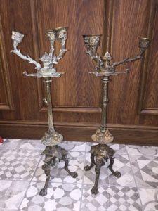 Candélabres bronze à redresser, souder et réargenter