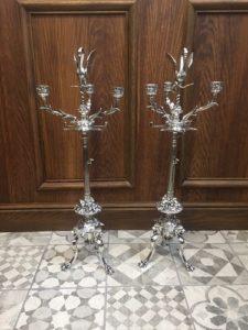 Paire de candélabres bronze argenté