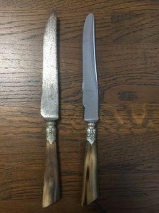 Couteaux lame acier chromés, avant - après