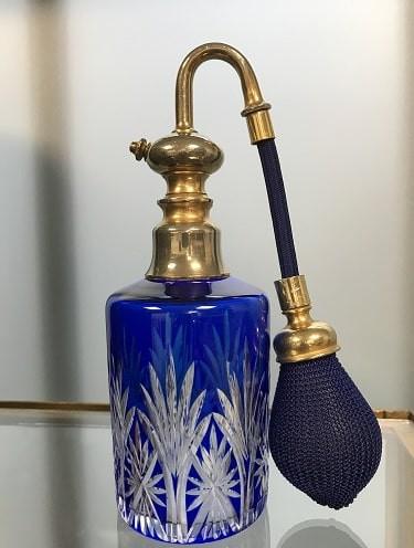 Vaporisateur à parfum St Louis en Cristal taillé, doublé bleu