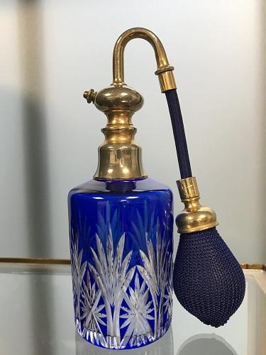 Vaporisateur à parfum en cristal St Louis doublé bleu